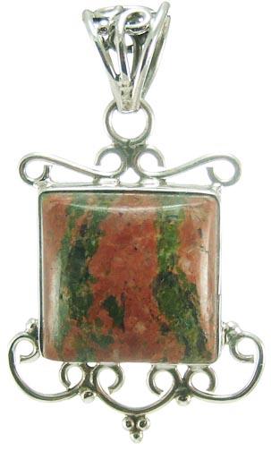 Design 5227: green,orange unakite pendants