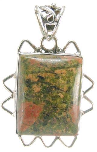 Design 5230: green,red unakite pendants