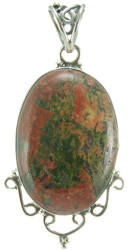 Design 5231: green,red unakite pendants