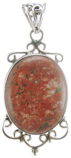 Design 5236: green,red unakite pendants