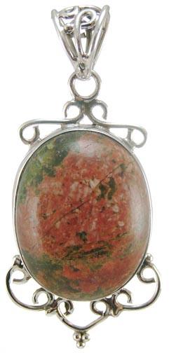 Design 5237: green,red unakite pendants