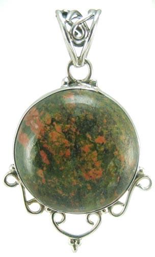 Design 5238: green,red unakite heart pendants