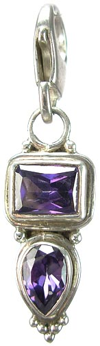 Design 5258: Purple amethyst zipper-pull pendants