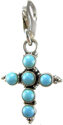 Design 5344: Blue turquoise cross, zipper-pull pendants