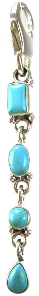 Design 5345: Blue turquoise chandelier, zipper-pull pendants