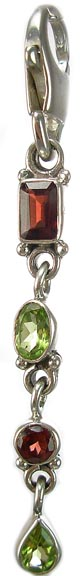 Design 5346: Multi peridot zipper-pull pendants