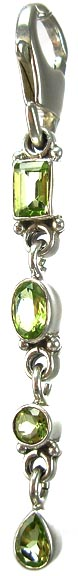 Design 5348: Green peridot chandelier, zipper-pull pendants