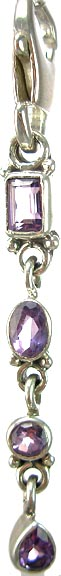 Design 5352: Purple amethyst chandelier, zipper-pull pendants