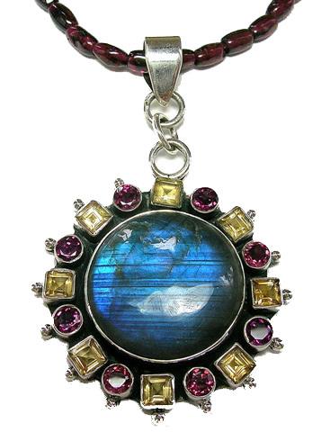 Design 5376: blue,multi-color labradorite pendants