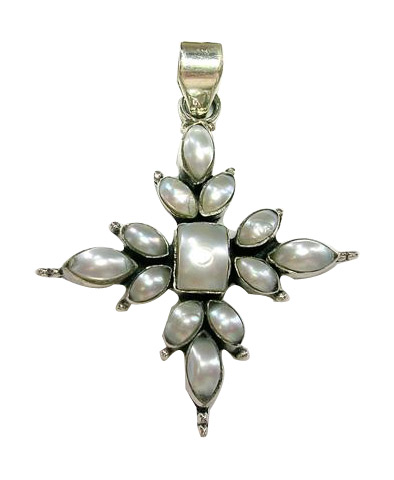 Design 5387: white pearl christian pendants