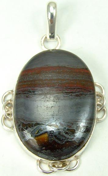 Design 5466: black,red tiger iron pendants