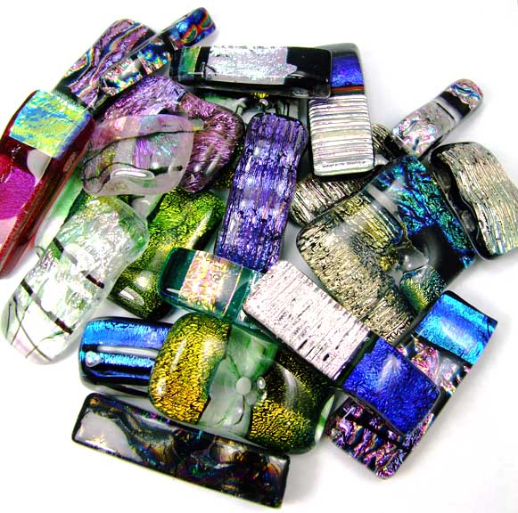 Design 5476: blue,pink dichroic glass contemporary pendants