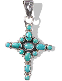 Design 6401: blue turquoise christian, cross pendants