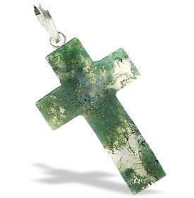 Design 6402: green moss agate christian, cross, religious pendants