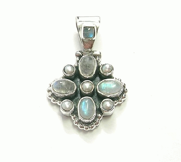 Design 6886: blue,white moonstone pendants