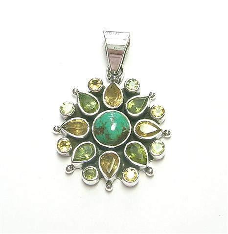 Design 6903: green,yellow turquoise flower pendants