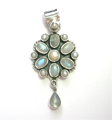 Design 6910: blue,white moonstone pendants