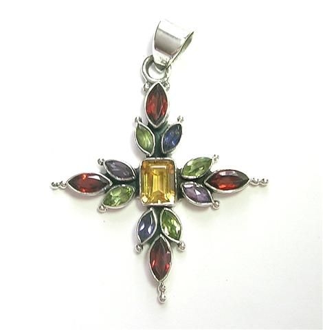 Design 6914: multi-color multi-stone cross pendants