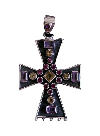 Design 6915: purple,yellow multi-stone christian pendants