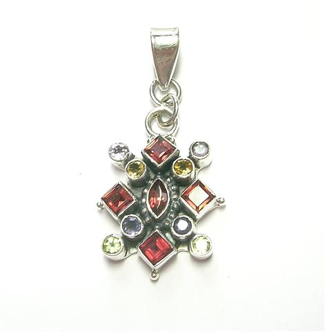 Design 6921: multi-color multi-stone pendants