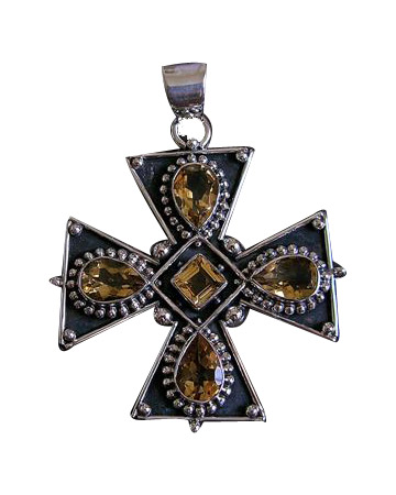 Design 6923: yellow citrine christian pendants
