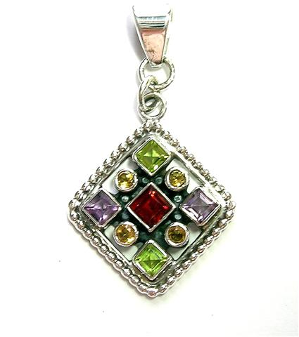Design 6925: multi-color multi-stone gothic-medieval pendants