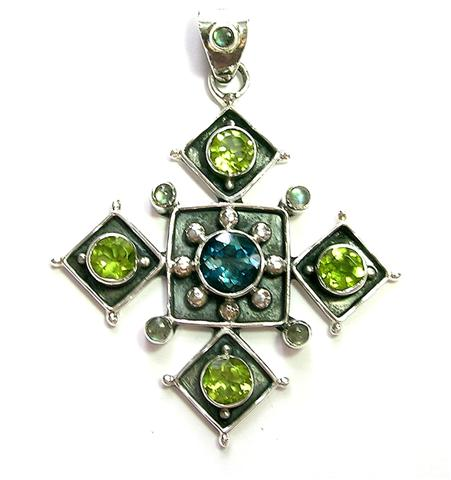 Design 6926: blue,green london blue christian, cross, gothic-medieval, religious pendants