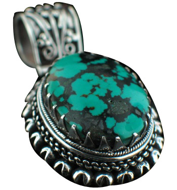 Design 6977: blue turquoise chunky, gothic-medieval pendants