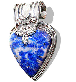 Design 6987: blue,gray lapis lazuli drop pendants