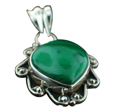 Design 6993: green malachite drop, leaf pendants