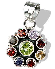 Design 721: green,red,multi-color multi-stone flower pendants