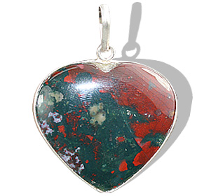 Design 7262: multi-color bloodstone heart pendants