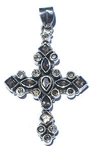 Design 7289: brown,gray smoky quartz cross pendants