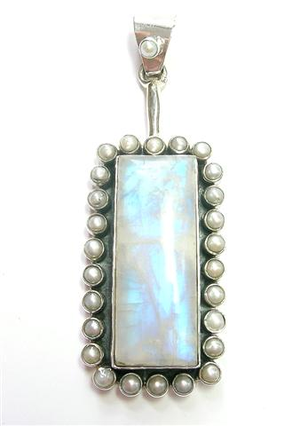 Design 7304: blue,white moonstone pendants