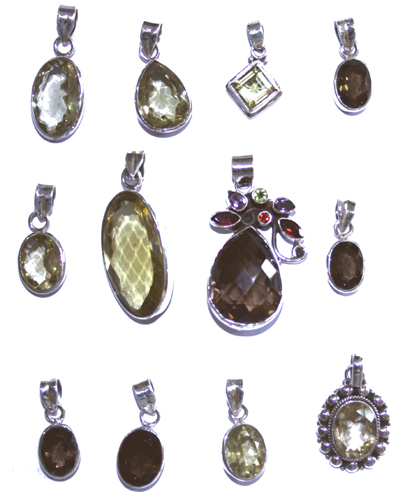 Design 7654: Yellow, Brown, Green bulk lots pendants