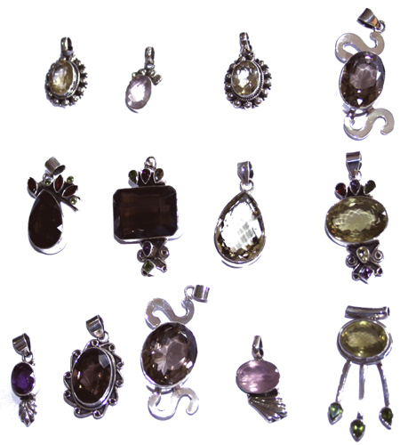 Design 7655: Yellow, Purple, Green bulk lots pendants