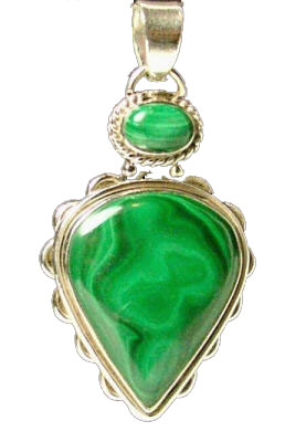 Design 8098: green malachite leaf pendants