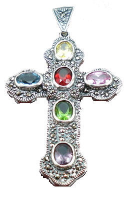Design 8415: red, green, blue, purple, pink garnet cross pendants