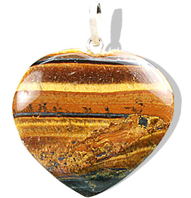 Design 8419: brown tiger eye heart pendants