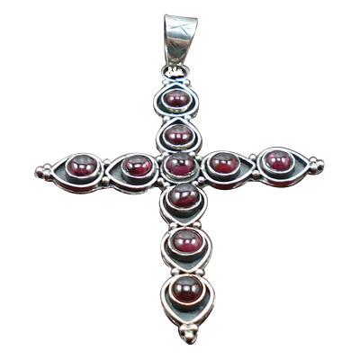 Design 8436: red garnet christian pendants