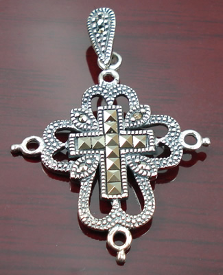 Design 8438: gray silver christian pendants