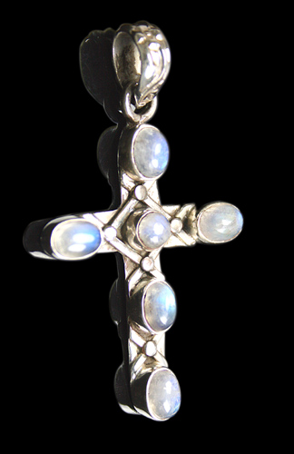 Design 8489: white moonstone christian, cross, religious pendants