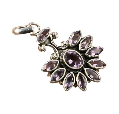 Design 8883: purple amethyst flower pendants