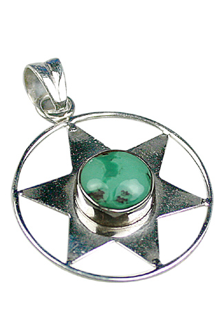 Design 9114: green turquoise star pendants