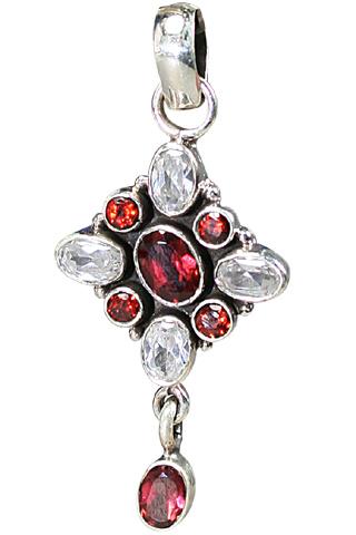 Design 9123: red,white garnet pendants