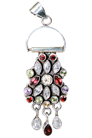Design 9133: green,red,white multi-stone flower pendants