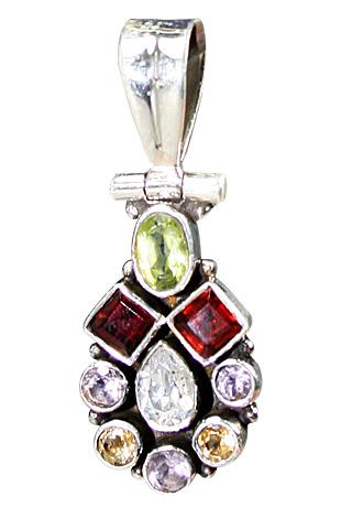Design 9135: red,white,multi-color multi-stone pendants