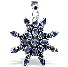 Design 978: blue iolite flower pendants