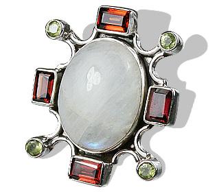 Design 987: green,red,white moonstone pendants