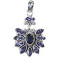 Design 3111: blue iolite flower pendants